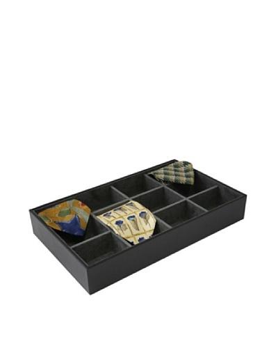 Bey-Berk Leather Open-Face Tie Storage Case, Black