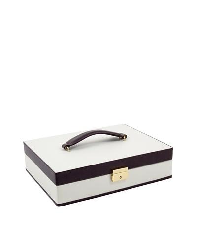 Bey-Berk Leather Jewelry Box, Ivory/Brown