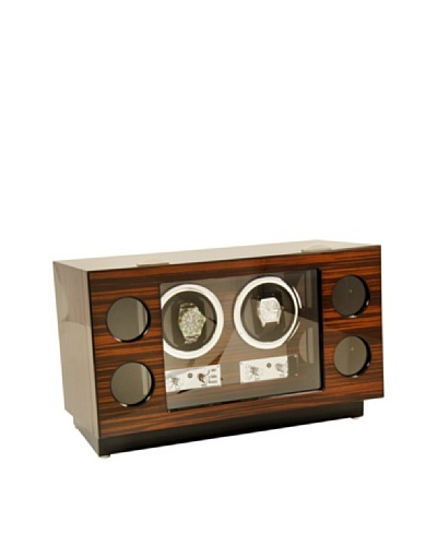 Bey-Berk Burlwood 2-Watch Winder & 4-Watch Storage Case, Ebony
