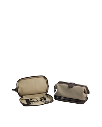 Bey-Berk Leather Toiletry Bag with 6-Piece Manicure & Grooming Set, Brown