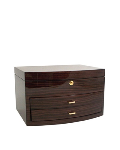 Bey-Berk Zebra Lacquered Wood Jewelry Box, Ebony