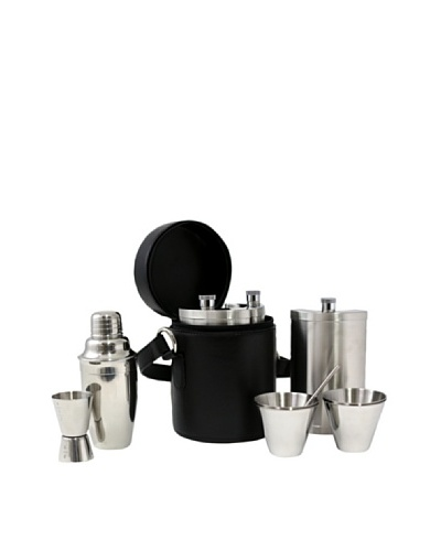Bey-Berk 10-Piece Stainless Steel Bar Set with Leather Carrying Case, Black