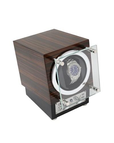 Bey-Berk Ebony Burlwood Watch Winder with Glass Door