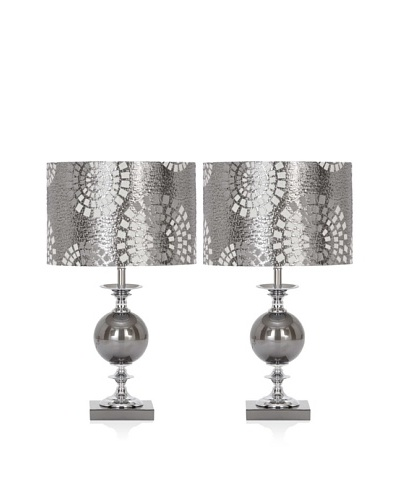 UMA Set of 2 Metal Glass Table Lamps