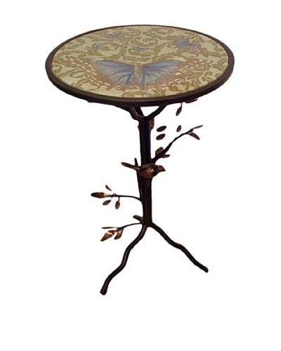 Victoria Fischetti Perched Bird & Butterflies Accent Table Handmade Decoupage