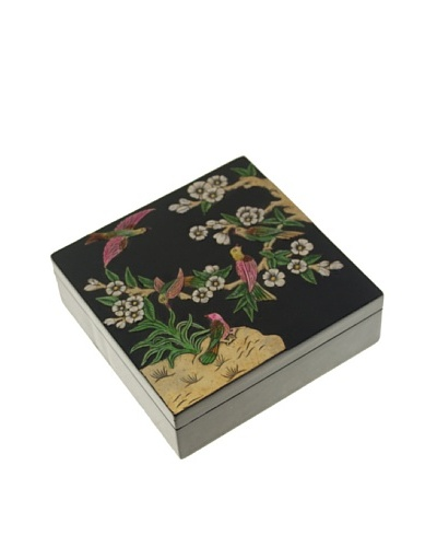 The Niger Bend Square Soapstone Box with Birds in Tree Design