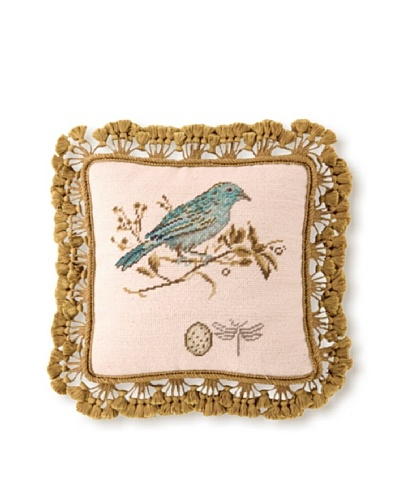 Sally Eckman Roberts Gilded Green Songbird 14 x 14 Needlepoint Pillow