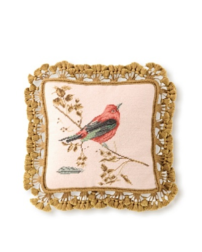 "Sally Eckman Roberts Gilded Orange Songbird 14"" x 14"" Needlepoint Pillow"
