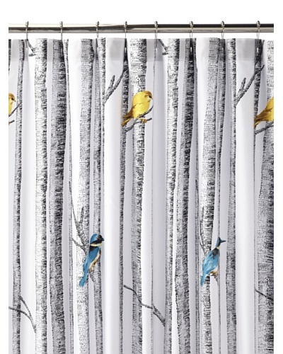Blissliving Home Birch Shower Curtain, White/Black/Multi
