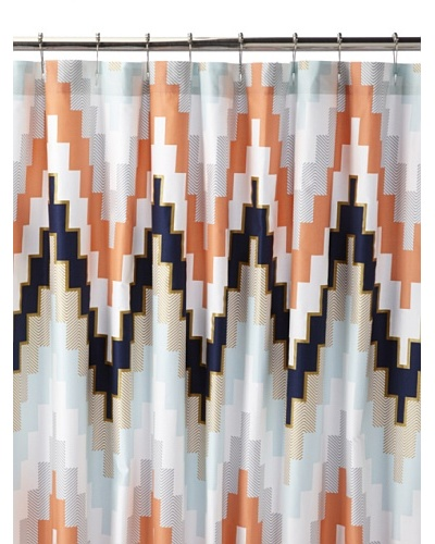 Blissliving Home Harper Shower Curtain, Navy Blue/Chevron