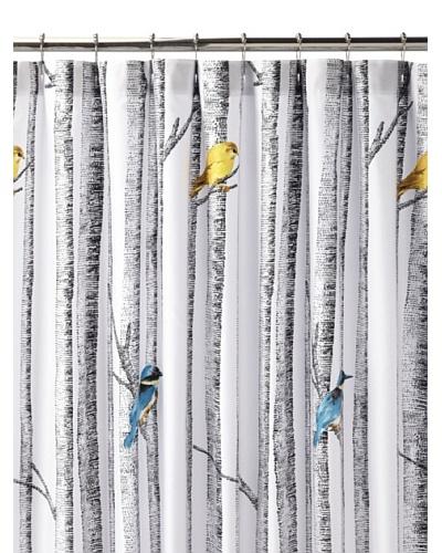 Blissliving Home Birch Shower Curtain, White/Black/Multi