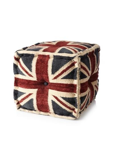 Boheme Collection Union Jack Rayon Pouf, Cube, Multi
