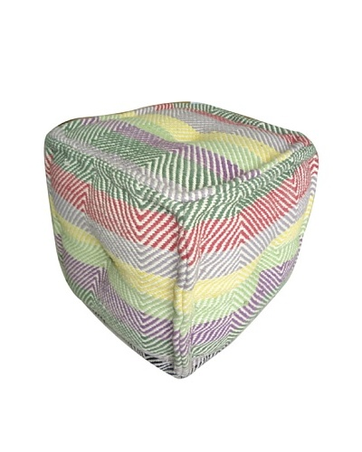 Boheme Collection Cotton Pouf, Cube, Multi