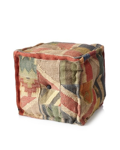 Boheme Collection Patchwook Wool Jute Pouf, Cube, Multi
