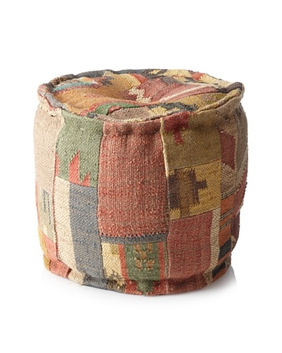 Boheme Collection Patchwook Wool Jute Pouf, Multi
