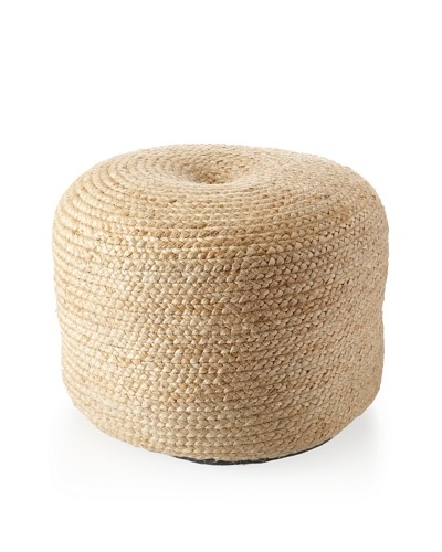 Boheme Collection Briaded Pouf, Jute, Natural