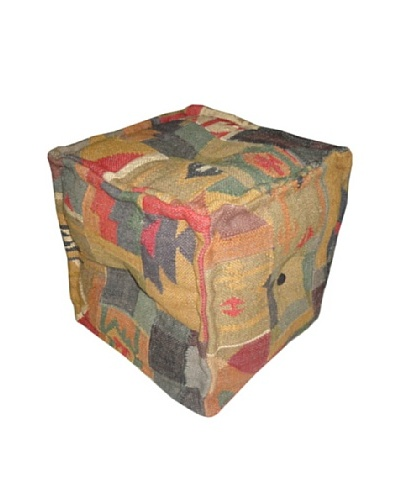 Boheme Collection Wool Jute Pouf, Cube, Multi