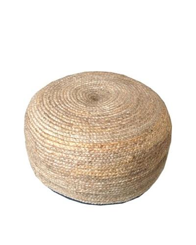 Boheme Collection Jute Braided Pouf, Round, Multi