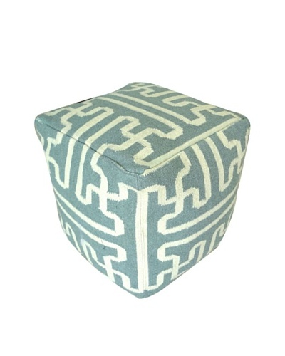 Boheme Collection Wool Cotton Pouf, Cube, Multi