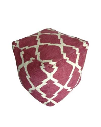 Boheme Collection Wool Cotton Pouf, Cube, Multi