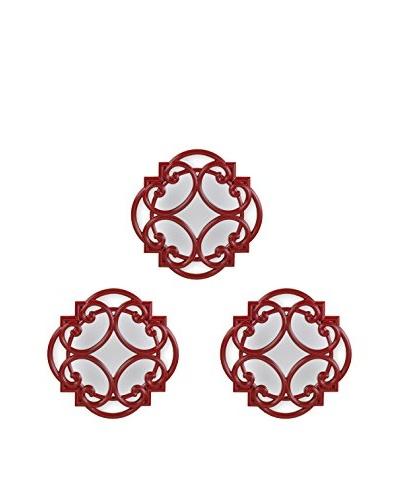 Bombay Company Set of 3 Swirl Wall Mirrors, Red