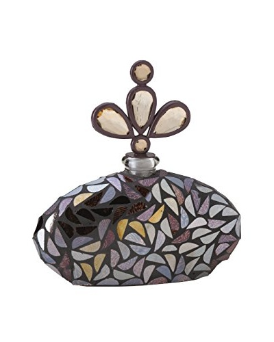 Bombay Company Glass Mosaic Perfume Bottle With Stopper, Burgundy
