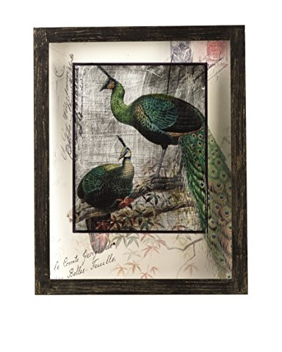 Bombay Company Peacock Glass Plaque