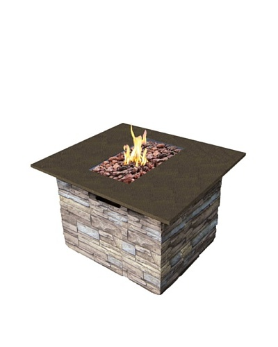 Bond Newcastle Fire Table with Marble Top and Lava Rock