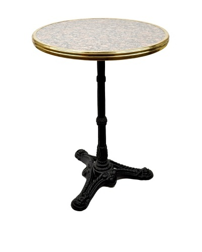 Bonnecaze Absinthe & Cuisine French-Style Marble and Iron Bistro Table, Grey/Pink/Black