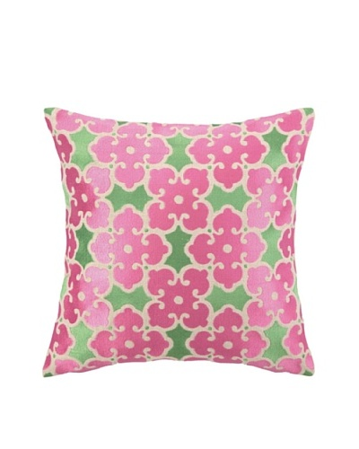 "Brejer Acadia Embellished Down Pillow, Pink/Green, 14"" x 14"""