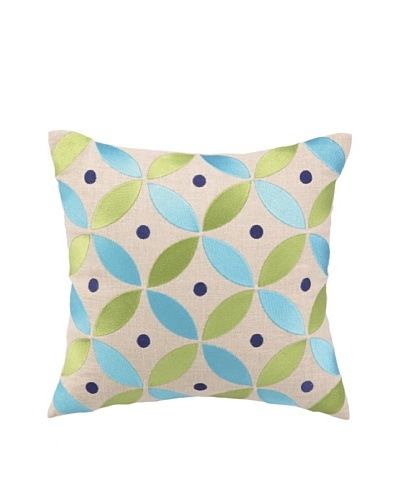 """Brejer Boho-Chic Embellished Down Pillow, Blue/Green, 14"""" x 14"""""""