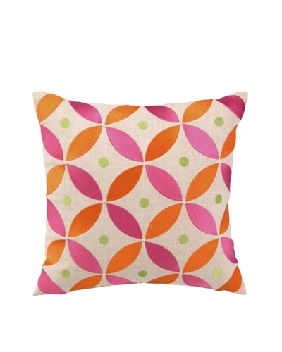 """Brejer Boho-Chic Embellished Down Pillow, Pink, 14"""" x 14""""As You See"""