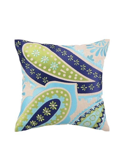 """Brejer Boho-Chic Embellished Down Pillow, Blue/Green, 16"""" x 16"""""""