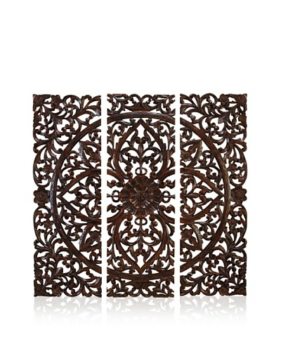 Set of 3 Carved Plaques Wall Installation