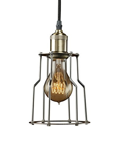 Bulbrite Vintage 1-Light Brass Industrial Cage Mini Pendant, Pewter Finish