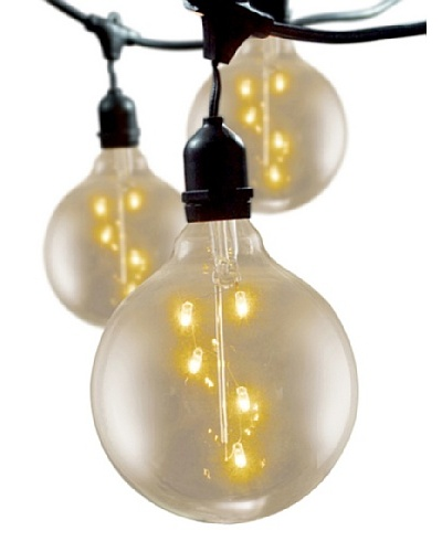 "Bulbrite Starlight 5"" Spiral Globe 15-Light Indoor/Outdoor String, Clear"