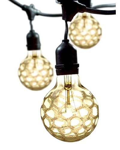 Bulbrite Crystal Collection Amber Marble 15-Light Outdoor String, Crystal Amber