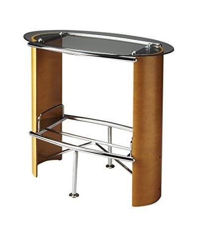 Butler Bistro Table, Chrome/Light Wood
