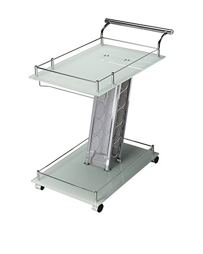 Butler Serving Cart, Frosted Glass/Chrome