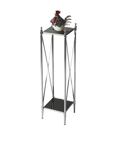 Butler Specialty Company Polished Aluminum/Black Mirror Pedestal Plant Stand