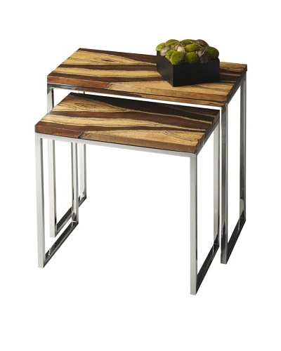 Butler Specialty Company Light Brown/Stainess Steel Nesting Tables, Blue