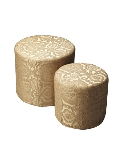 Butler Specialty Company Nesting Ottomans, Gold Damask
