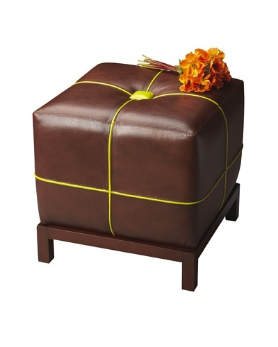 Butler Specialty Company Brown/Lime Bunching Ottoman