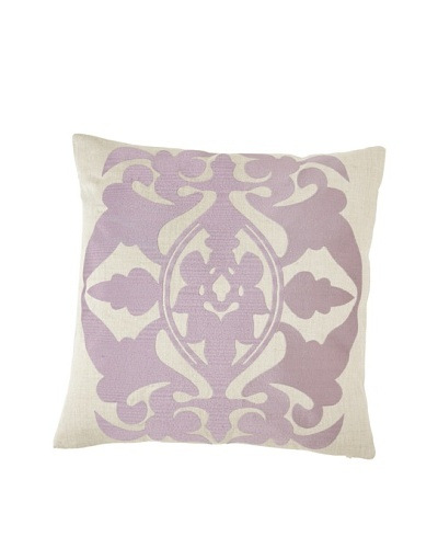 "Villa Home Baroque & Roll Crest Pillow, Natural/Plum, 20"" x 20"""
