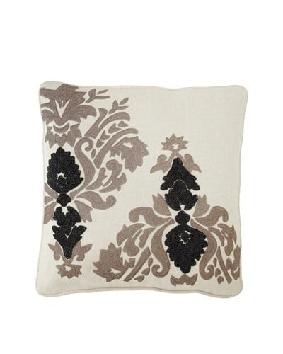 Villa Home Baroque & Roll Nouveau Pillow, Natural/Grey/Black, 20 x 20
