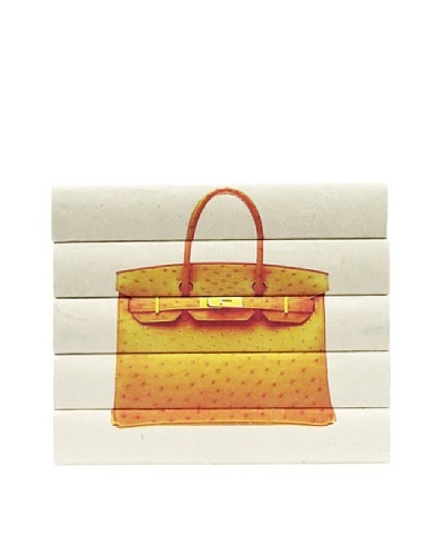By Its Cover Decorative Reclaimed Books Designer Handbag Series, Orange Ostrich 5-Volume Stack