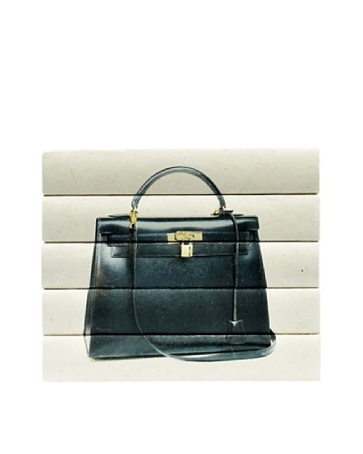 By Its Cover Decorative Reclaimed Books Designer Handbag Series, Black Leather 5-Volume Stack