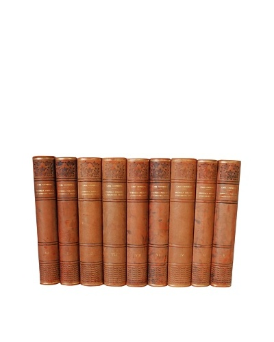 By Its Cover Decorative Reclaimed European Leather-Bound Books, 9 Volume Set