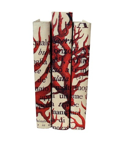 By Its Cover Hand-Rebound Set of 3 Red Coral Decorative Books, IV