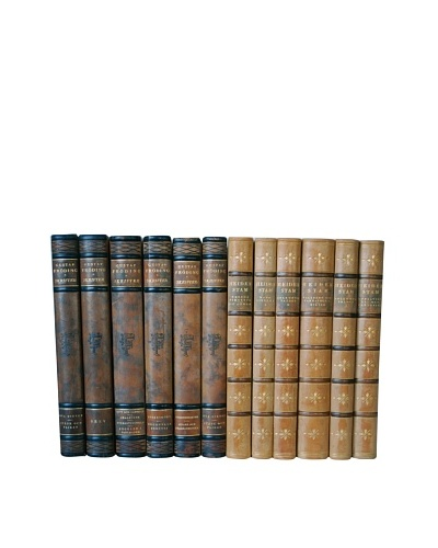 By Its Cover Decorative Reclaimed European Leather-Bound Books, 12 Volume Collection